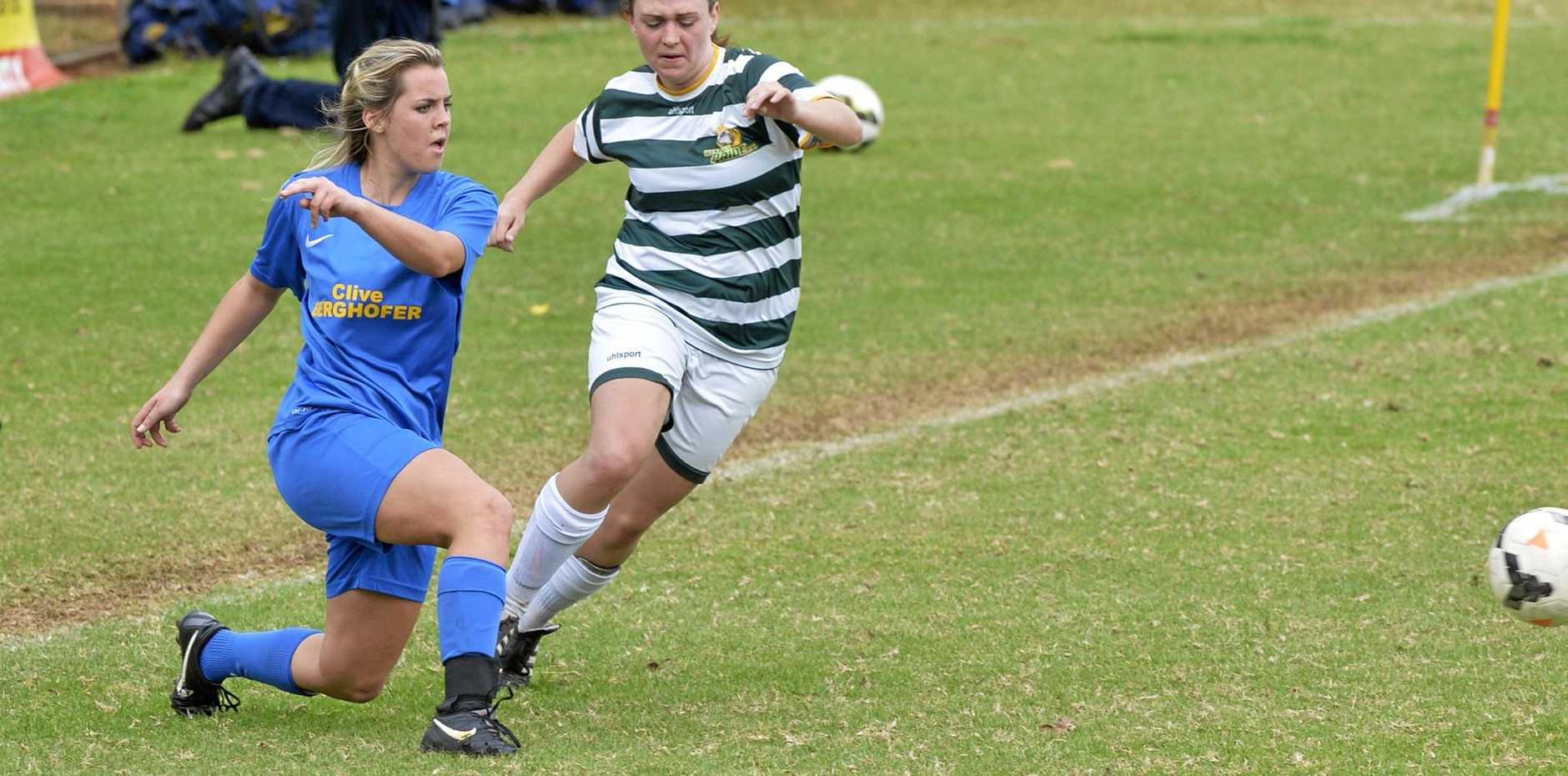 CONTEST: South-West Thunder's Grace Krautz against Western Pride in NPL Qld women's action.