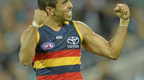 Eddie Betts of the Crows  during the Round 3 AFL match between the Port Adelaide Power and the Adelaide Crows at Adelaide Oval in Adelaide, Saturday, April 8, 2017. (AAP Image/David Mariuz) NO ARCHIVING, EDITORIAL USE ONLY