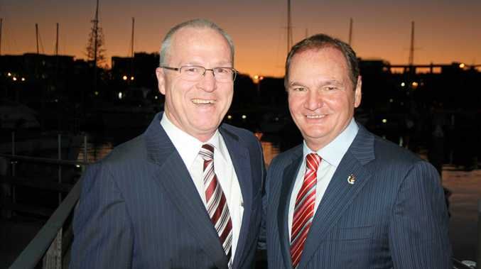THE by-election caused by the shock resignation of former Ipswich Mayor Paul Pisasale (right) pictured with Sunshine Coast mayor Mark Jamieson will be the first held under new real-time election donation declaration laws introduced by the State Government.