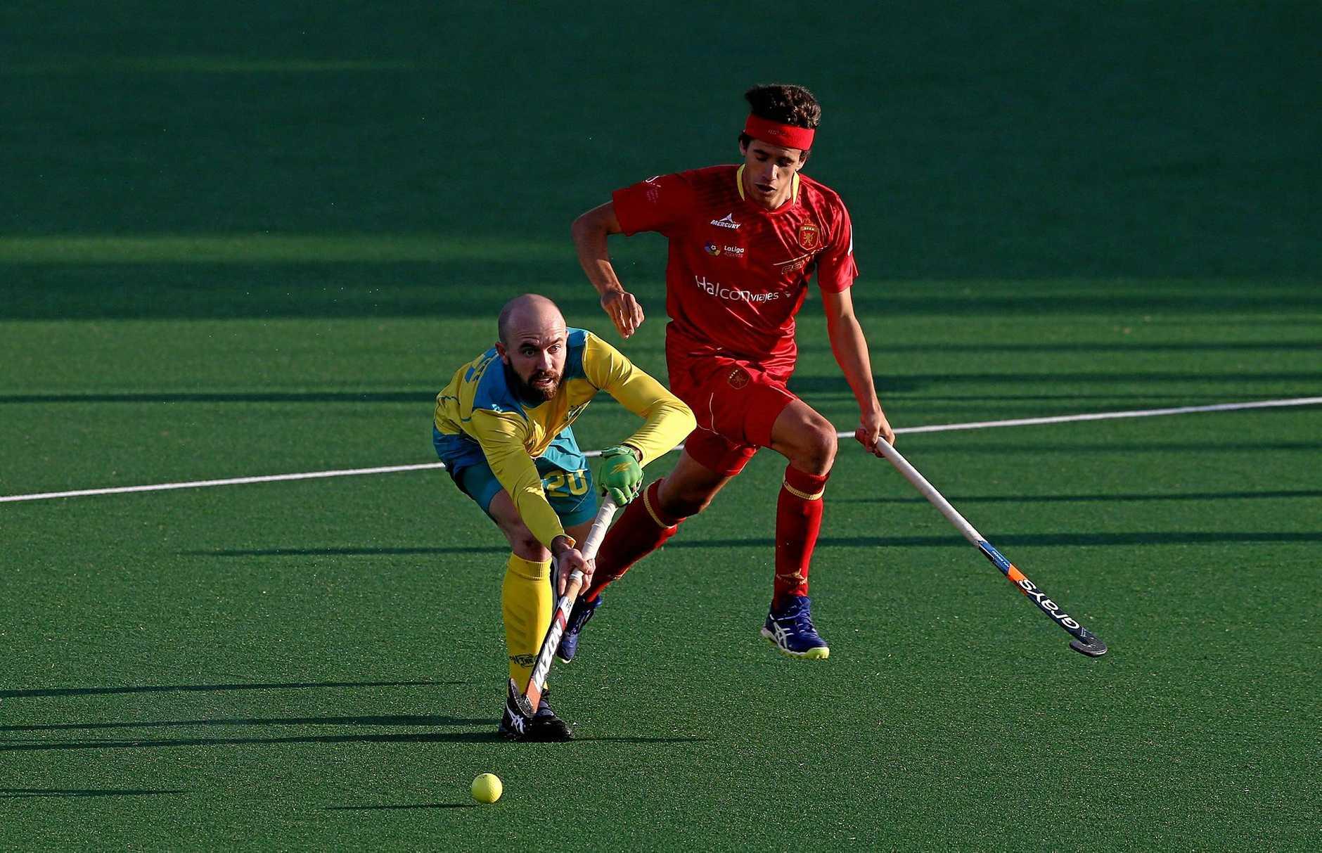 Matthew Swann of Australia passes the ball at the World League Semi-Finals in Johannesburg.