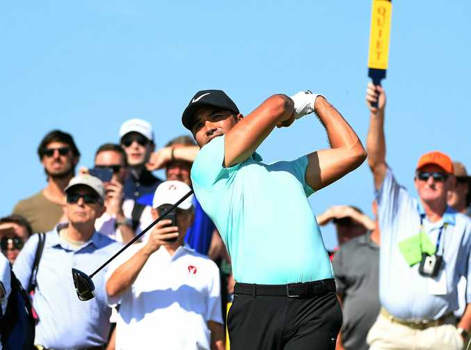 PRACTICE ROUND: Australia's Jason Day tees off during a practice day at the British Open Golf Championship at Royal Birkdale.