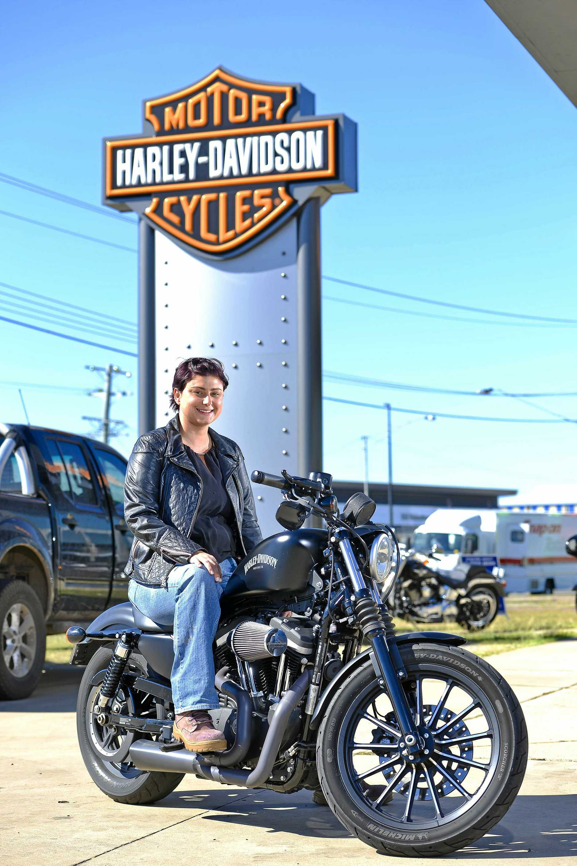 Shannon Josefski on her modified Harley Davidson 883 Iron (1200cc).