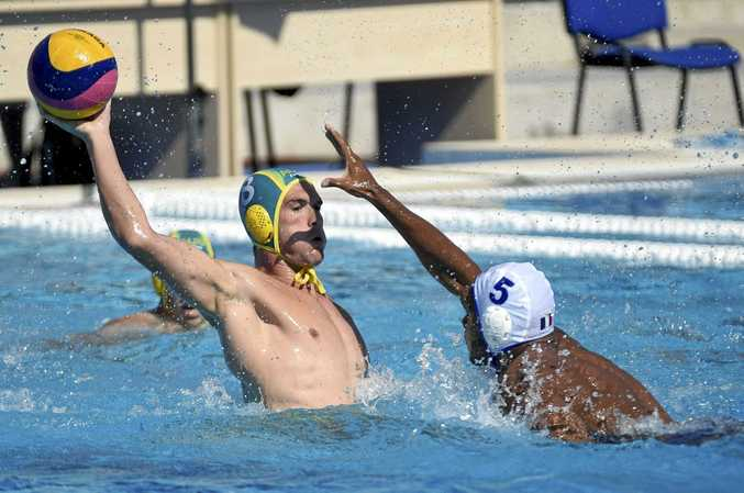 STAR MAN: Australia's Aaron Younger (left) scored three goals in his side's defeat of France at the Water Polo World Championships in Hungary.