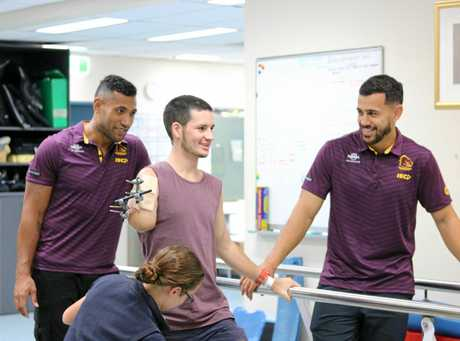 Bruklan Marshall is visted by Brisbane Broncos players Jordan Kahu and Moses Pangai.