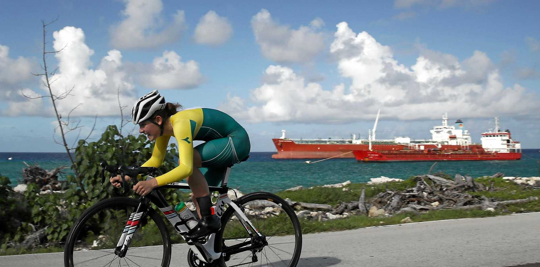 GOLDEN MOMENT: Australia's Madeleine Fasnacht of Australia on her way to gold in the Girls Individual Time Trial Final on day 2 of the 2017 Youth Commonwealth Games on July 19, 2017 in Nassau, Bahamas.
