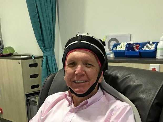 Member for Caloundra Mark McArdle's private photograph receiving scalp freezing treatment in his cancer therapy.