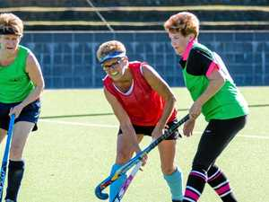 Masters hockey stars in action