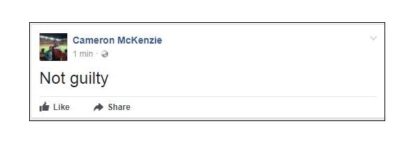 "A public Facebook post on Mr McKenzie's wall at 12.15pm simply said ""not guilty"" but it had been deleted within 20 minutes. It was unclear whether Mr McKenzie himself had written the post."