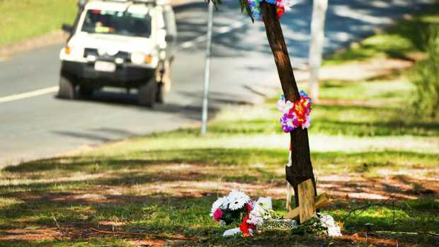 The homeowner doesn't want the memorial on his property and is threatening to tear the trees down. Picture Mike Batterham