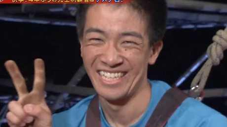 Sasuke winner Yusuke Morimoto after completing the course.