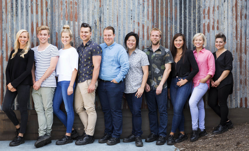 Ipswich's Ben Ungermann, fourth from left, pictured with the Top 10. He is now one of only three contestants remaining on MasterChef.