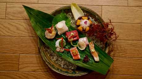 Sashimi by chef Osamu Ueno of Kigawa in a scene from Maggie in Japan.