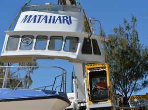 Crews dismantle beached boat Matahari.