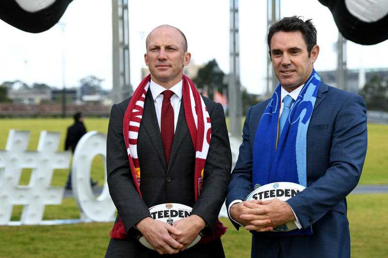 State of Origin legends Darren Lockyer (left) (Queensland) and Brad Fittler (New South Wales) attend the launch of the Origin Series for next year in Melbourne, Wednesday, July 19, 2017. The first of three State of Origin matches will be played at the MCG in Melbourne June 6. 2018.