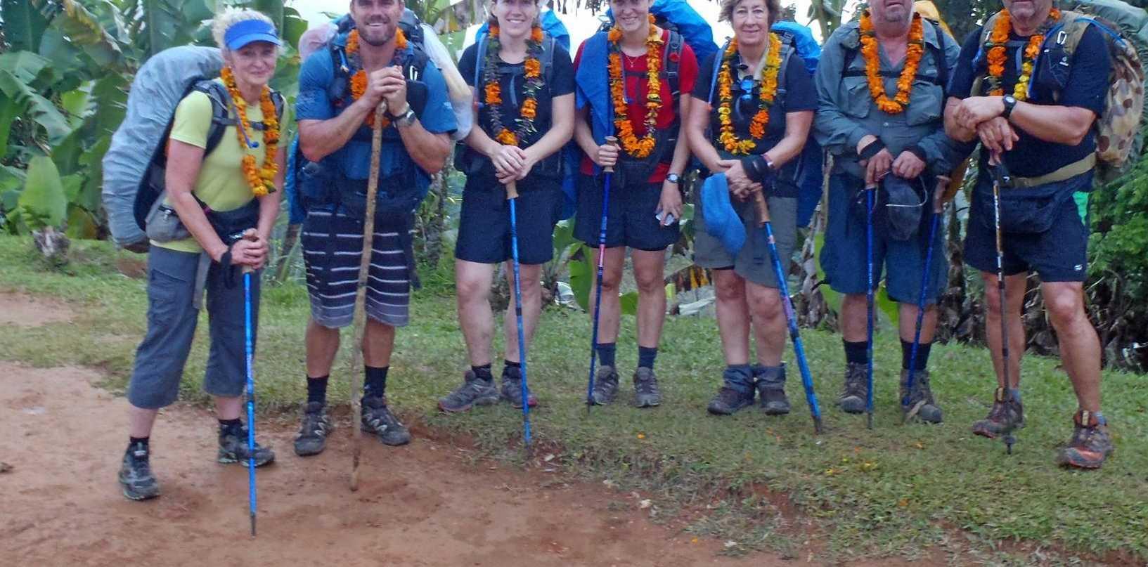 The Kokoda trekking group arrives at Kagi Village in 2013.