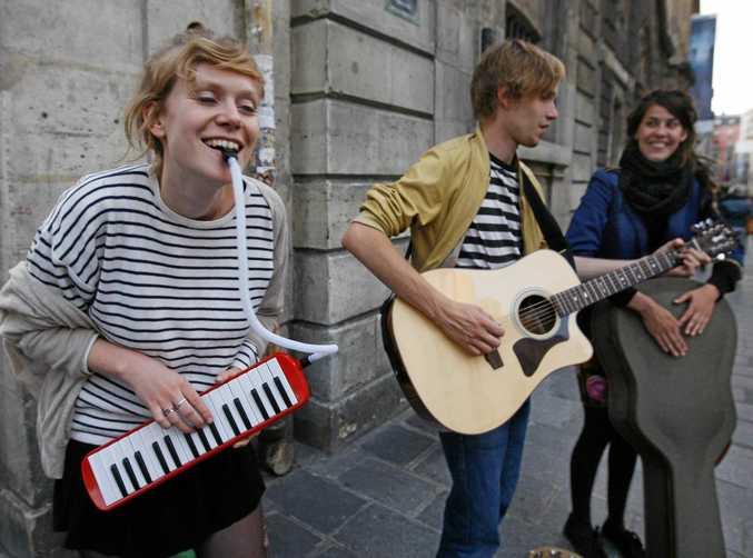 Musicians perform during the Fete de la Musique Music event in Paris.