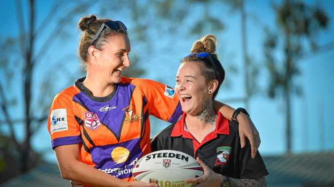 RIVALS: They may be smiles in the photo, but Wallabys Zeah Lane and Seagals Brittany Collins will be snarling at each other in tomorrows preliminary final from 10.30am at Marley Brown Oval.