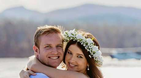 NEWLYWEDS: Sarah Elkin and her partner Gavin eloped in May to Whitehaven Beach.