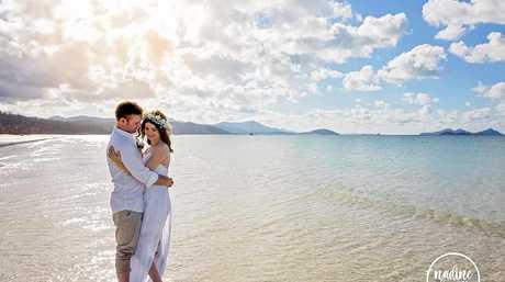 ROMANTIC: The couple then shared a beach getaway as their honeymoon at Airlie Beach.