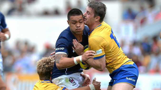 LAST YEAR: Duncan Paia'Aua of Country is tackled during an NRC match between Brisbane City and Queensland Country at Ballymore Stadium in 2016.