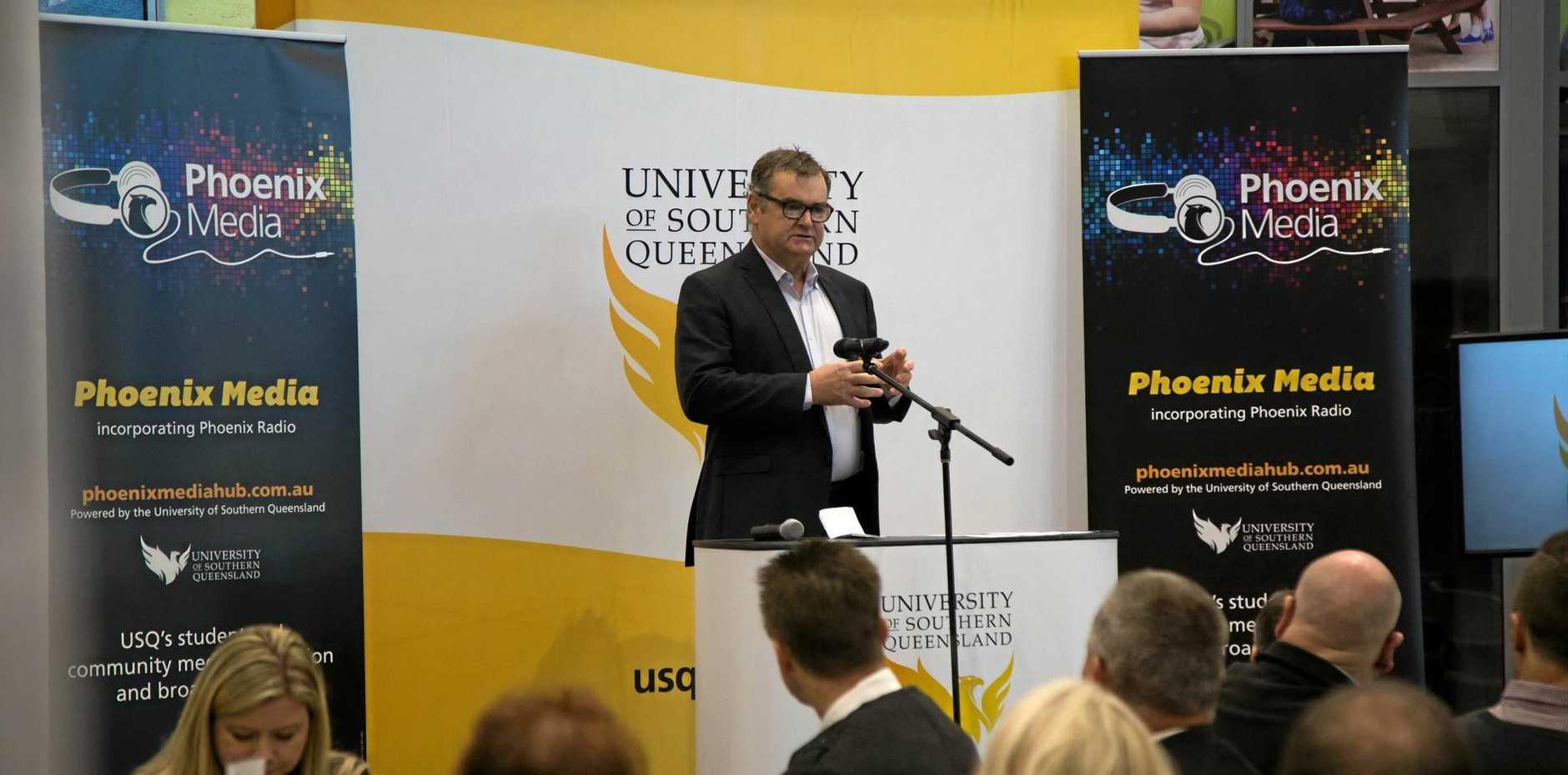 Nine News Regional Queensland Director of News, Mike Dalton, speaking at the USQ Media Breakfast yesterday at USQ Springfield.