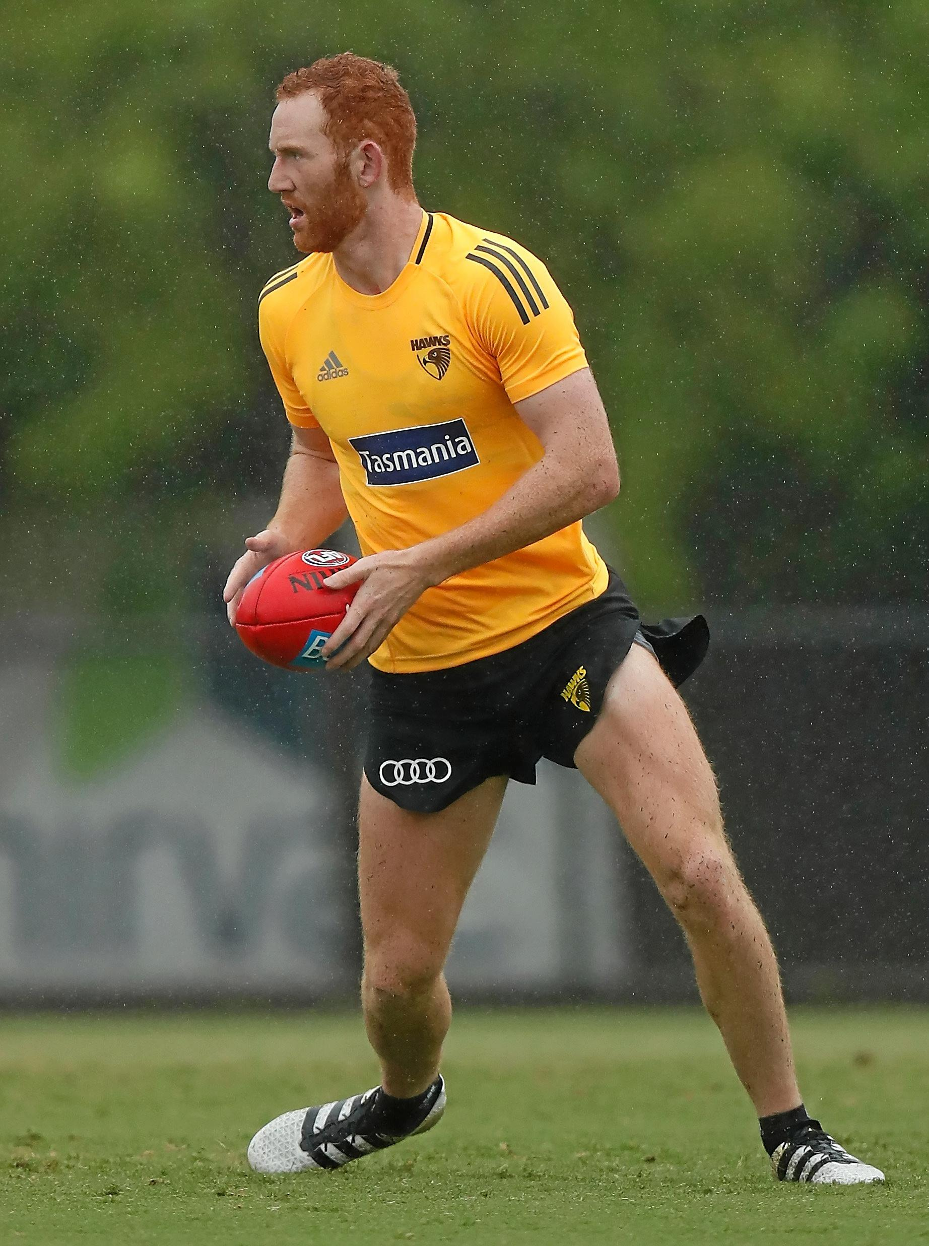 Conor Glass during a Hawks training session at Waverley Park.