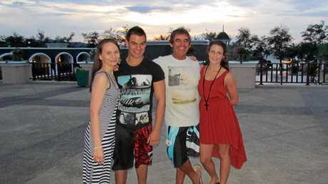 IN MOURNING: (From left) Kate Hardwick, Jim Baker, Bryan Baker and Jess Baker in Thailand.