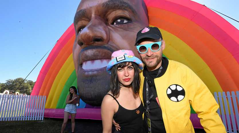 Danger Dave and Melissah Marie with the artwork Happy Kanye at Splendour in the Festival 2017.