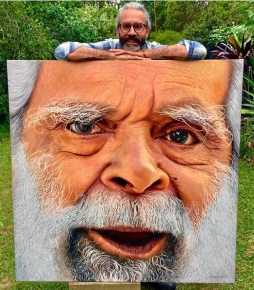 UNCLE JACK: Jandamarra Cadd with his entry into the 2017 Archibald Prize.