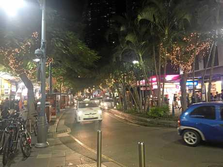 Meghan and Matthew Bryant spent the weekend in Surfers Paradise. Cavill Avenue at night.