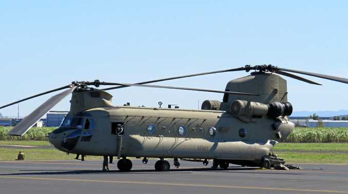 One of two Chinook helicopters which stopped in for refuelling in Mackay on their way from Shoalwater Bay to Townsville.