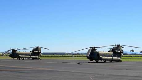 Two Chinook helicopters stopped in for refuelling in Mackay on their way from Shoalwater Bay to Townsville.