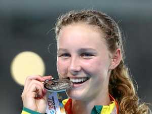 SILVER LINING: Australia's Riley Day was all smiles after winning silver a silver medal in the Girls 100m final at the 2017 Youth Commonwealth Games.
