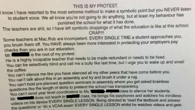 The first half of the note where a student admits defecating on school grounds.