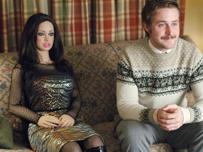 """Ryan Gosling, with his companion in the film """"Lars and the Real Girl""""."""