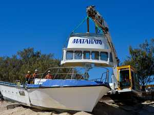 Marooned crab boat torn into pieces by wrecking crews