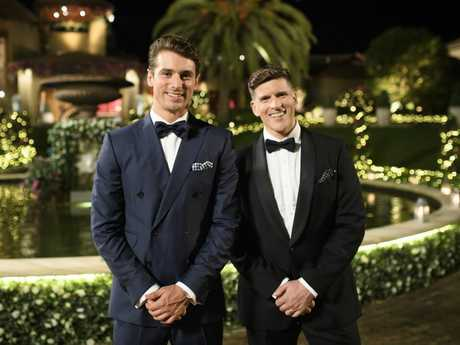 Matty J and Osher Gunsberg in a scene from The Bachelor.