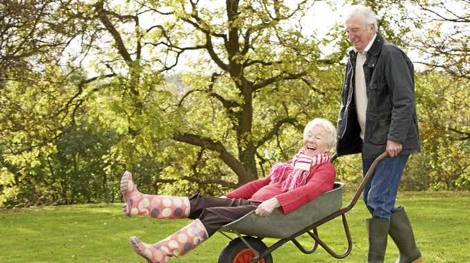 Are oldies happy 'cos they're laughing or laughing 'cos they're happy?