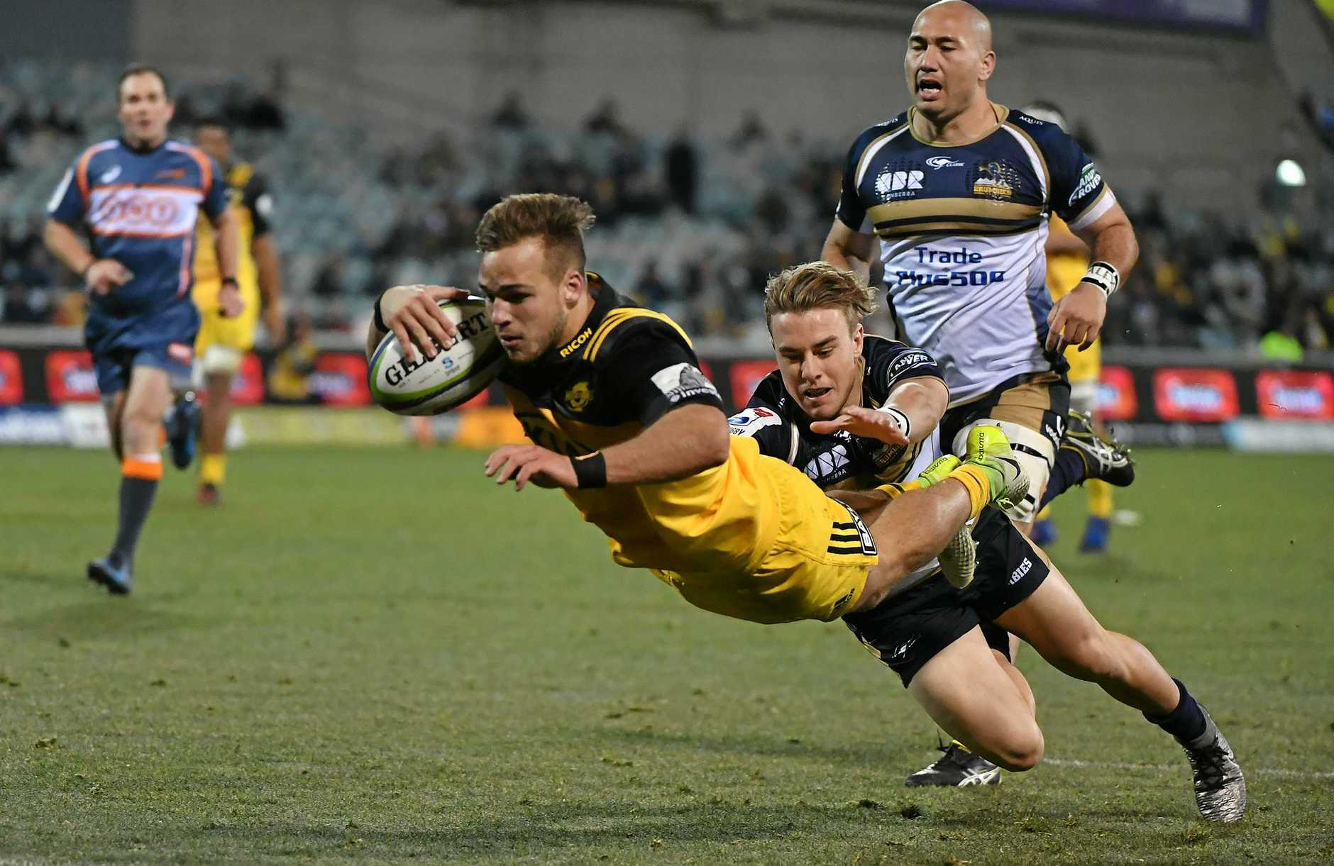 Wes Goosen of the Hurricanes scores a try during the quarterfinal Super Rugby match between the Brumbies and the Wellington Hurricanes at GIO Stadium in Canberra, Friday, July 21, 2017. (AAP Image/Mick Tsikas) NO ARCHIVING, EDITORIAL USE ONLY