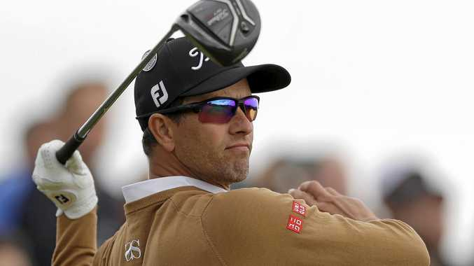 Australia's Adam Scott watches his shot off the ninth tee during the second round of the British Open.