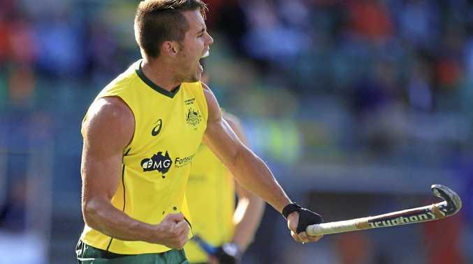 Australia's Jeremy Hayward celebrates a goal.