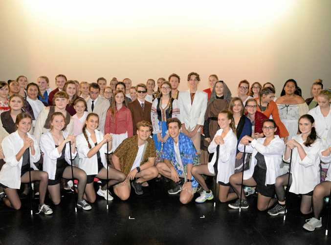 The cast of 'Young Frankenstein' from Gladstone State High School.