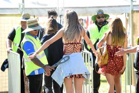 Entry at Splendour in the Grass 2017. Security and bag check.