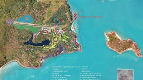 A map of the planned developments on Lindeman Island.