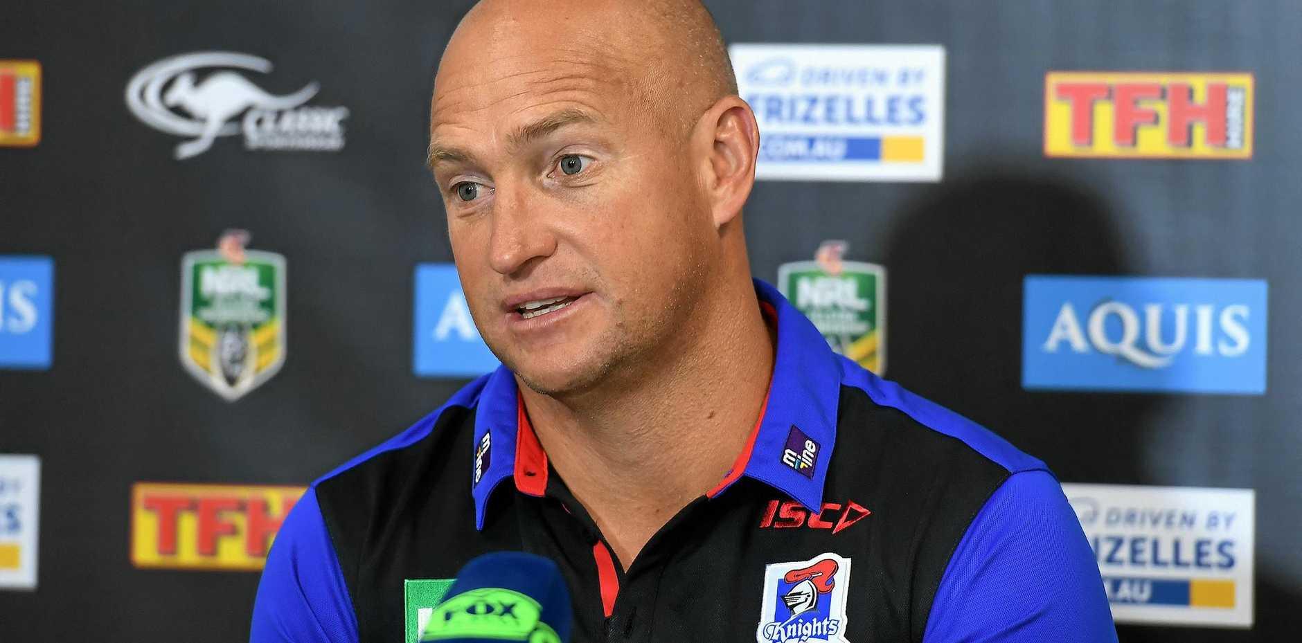 Knights coach Nathan Brown at a press conference.