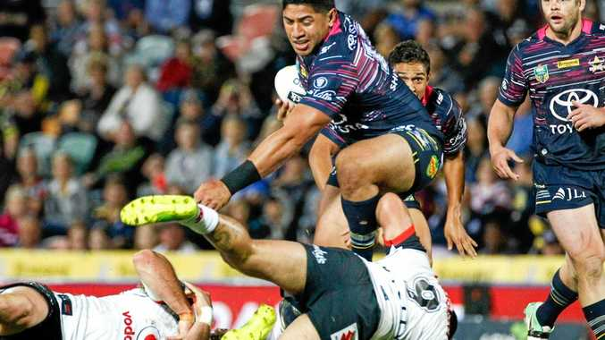 Jason Taumalolo of the Cowboys proves a handful for the Warriors defence at 1300SMILES Stadium.