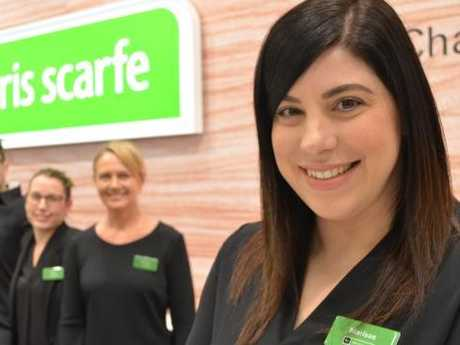 Marissa Tesoro, store manager of Harris Scarfe Top Ryde, with the store team.