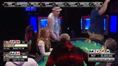 WSOP's 156m chip hand: Hesp reacts on the left, Blumstein goes off with joy.