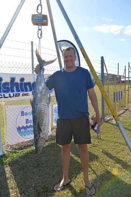 Warick Dunlop weighing in with his fish at the Spanish Mackerel Shootout.