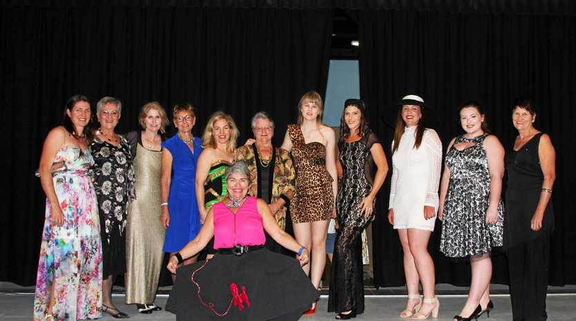 All the models with Jane Muller (front) of Vinnies fashion parade at St Catherine's on Saturday.